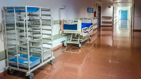 MANISES, VALENCIA/SPAIN October 7 2018 - Hospital corridor with stretcher and food cart Editorial