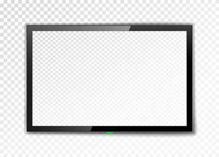 Realistyczny ekran telewizora. Pusty monitor led na przezroczystym tle. Ilustracji wektorowych.