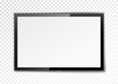 Realistic TV screen. Empty led monitor isolated on a transparent background. Vector illustration.