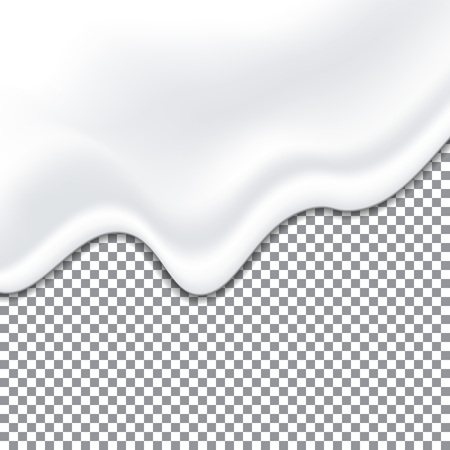 Realistic yogurt white texture. Mayonnaise sauce. Liquid creamy texture isolated on transparent background. Vector illustration.