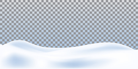 Realistic snowdrift isolated on transparent background. Snowy landscape. Vector illustration with snow hills.