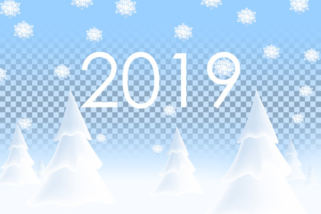 Happy New Year 2019. Realistic snowdrift on transparent background. Winter snowy landscape with christmas trees. Vector illustration with snow hills.