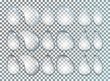 Water drops realistic set isolated on transparent background. Vector illustration.
