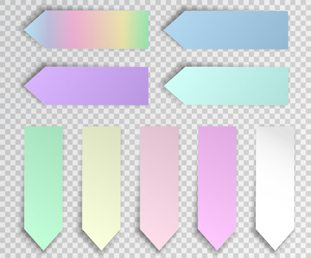 Post sticky note isolated. Set of paper stickers with shadow on transparent background. Vector illustration. Ilustração