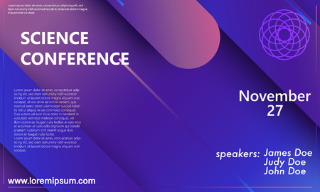 Science conference invitation design template, flyer layout. Geometric background. Minimal abstract cover design. Creative colorful wallpaper. Trendy gradient poster. Vector illustration. 向量圖像