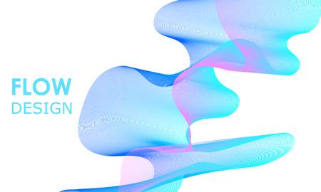 Flow shapes design. Soundwave music background. Abstract 3d flow shape.