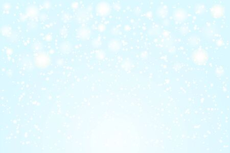 Falling snow. Vector illustration. White snowflakes on blue background. Snow Background.