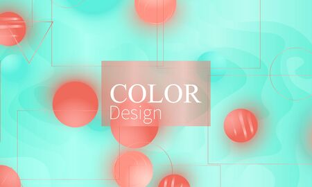 Color background. Fluid pattern. Soft spheres. 3d geometric shapes. Vector.