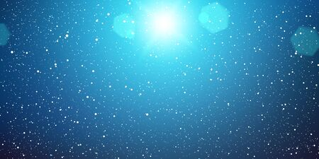 Snow Background. White snowflakes on dark sky. Vector illustration. Falling snow background.