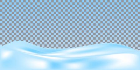 Snow ground. Realistic snowdrift isolated on transparent background. Vector illustration. Snowy landscape.