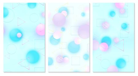 Baby background. Cover set. Design template. Soft pattern. Creative decoration. Pink, blue, violet balls. Fun concept. Vector illustration. Cute baby background.