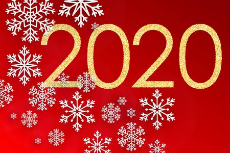 New Year 2020. Golden numbers on red background. Holiday gold pattern. Vector illustration.