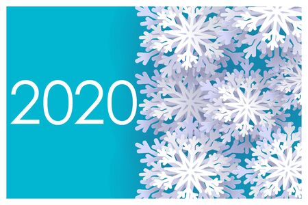 Happy New Year 2020. Christmas banner with snowflakes. Vector illustration. Falling snow.