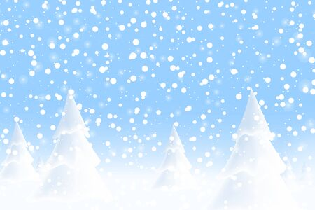 Happy New Year 2020. Falling snow. Realistic snowdrift. Winter snowy landscape with christmas trees. Vector illustration. Çizim