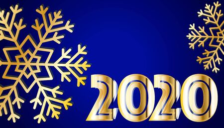 New Year 2020. Golden numbers on blue background. Holiday gold pattern. Vector illustration.