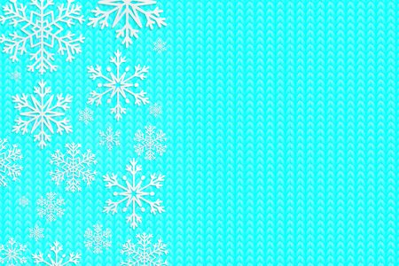 Happy New Year 2020. Knitted background. Christmas banner with snowflakes. Vector illustration. Falling snow.
