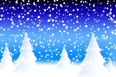 Happy New Year 2020. Falling snow. Realistic snowdrift. Winter snowy landscape with christmas trees. Vector illustration. Illusztráció