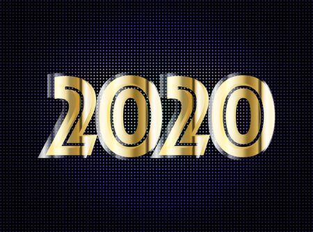 New Year 2020. Golden numbers background. Holiday gold pattern. Vector illustration. Illustration
