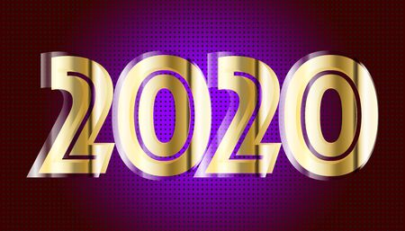 New Year 2020. Golden numbers background. Holiday gold pattern. Vector illustration. Banco de Imagens - 129242950