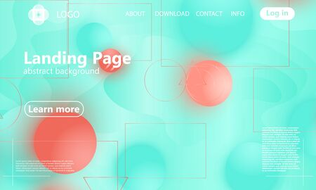 Coral soft spheres. Landing page. Website template. Abstract background. Web design landing page. Vector illustration. Archivio Fotografico - 129221335