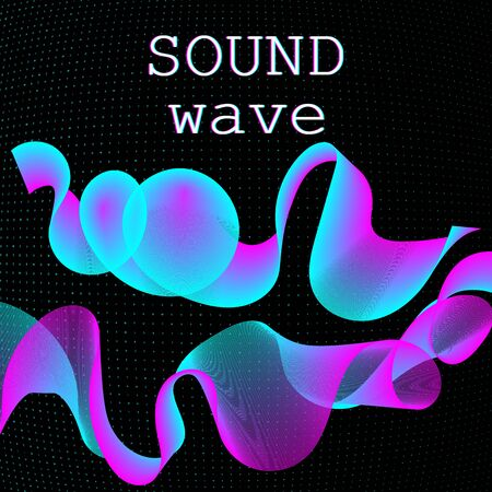 Dynamic fluid shape. Music waves. Digital sound. Vector illustration. Abstract colorful background. Neon poster design template. Illustration