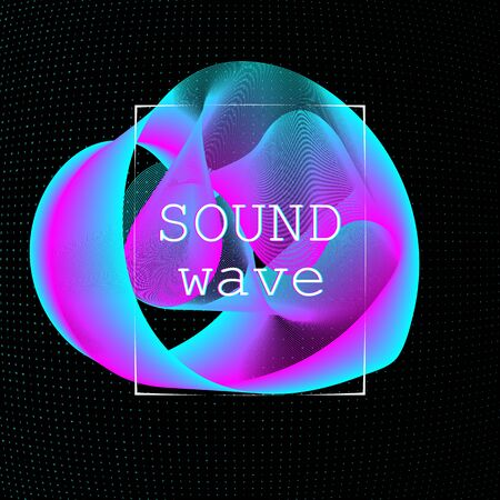 Dynamic fluid shape. Music waves. Digital sound. Vector illustration. Abstract colorful background. Neon poster design template. Иллюстрация
