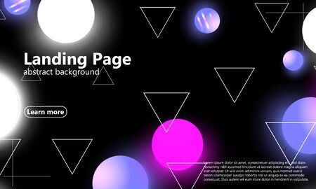 3d background. Landing page. Neon pattern. Color geometric shapes. Vector. Soft background.