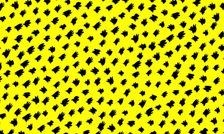 Ink brush strokes. Yellow background. Abstract irregular pattern. Black halftone. Monochrome vector. Random dots.