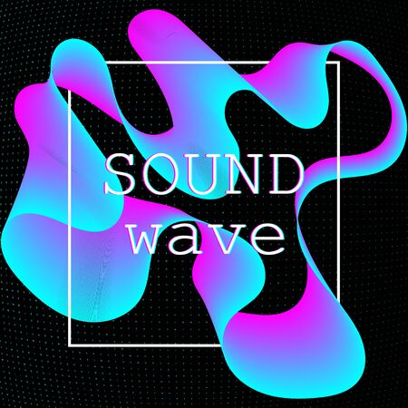 Dynamic fluid shape. Music waves. Digital sound. Vector illustration. Abstract colorful background. Neon poster design template.