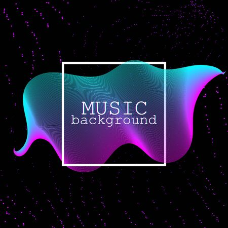 Music waves. Neon poster. Big data. Futuristic Visualization. 3d wave. Virtual flow. Digital sound. Vector illustration. Abstract colorful neon poster. Фото со стока - 133435288