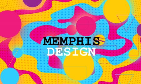 Memphis Pattern. 90s Design. Liquid Shapes. Fluid Abstract Background. Colorful Poster. Vector Illustration.