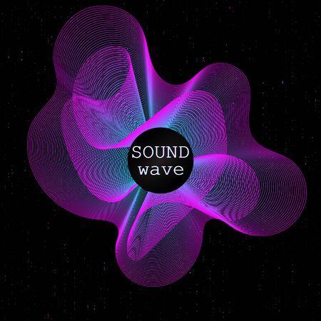 Onde musicali. Manifesto al neon. Grandi dati. Visualizzazione futuristica. onda 3d. Flusso virtuale. Suono digitale. Illustrazione vettoriale. Manifesto al neon colorato astratto.