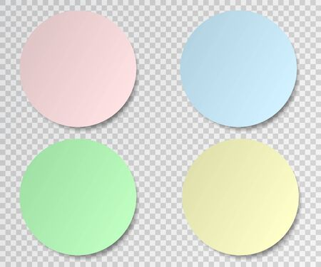 Set of round paper stickers on transparent background. Post sticky note.Vector illustration.