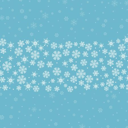 Snow pattern. Vector illustration. White snowflakes on blue background. Falling snow. Banque d'images - 135491430