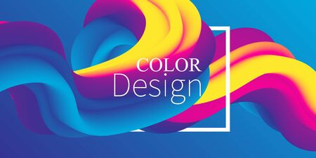 Fluid shape. Abstract flow. Trendy poster. Colorful futuristic gradient. Geometric background. 3d fluid banner.