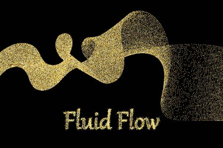 Golden particles. Sparkle flow. Shiny wave. Gold glitter texture. Glowing dots. Golden dust. Vector Illustration.