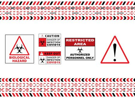 Seamless Caution Warning Tape. Stop Covid-19 Sign. Red White. Danger Tape. Red And White Attention Stripe Set. Warning Signs. Caution Lines. Vector Illustration. Sign Stop Virus. Pandemic Stop Sign. Illustration