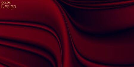 Red Silky Fabric. Luxury Background. Vibrant Design. Liquid Color. Dark Red Background. Fluid Poster. Abstract Flow. Vibrant Color. Red Gradient. Ink Liquid. 3d Wave. Fluid Color. Flow Wave.