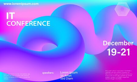 Liquid color shape. Conference design template. Fluid background. Trendy abstract cover. Futuristic design poster. Colorful gradient. Vector.
