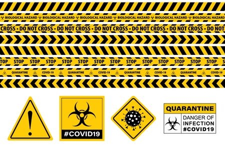 Stop Covid-19 Sign. Seamless Caution Warning Tape. Yellow And Black. Danger Tape. Yellow Attention Ribbon Set. Warning Signs. Caution Lines. Vector Illustration. Sign Stop Virus. Pandemic Stop Sign. Vectores