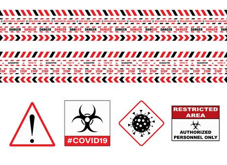 Seamless Caution Warning Tape. Stop Covid-19 Sign. Red White. Danger Tape. Red And White Attention Stripe Set. Warning Signs. Caution Lines. Vector Illustration. Sign Stop Virus. Pandemic Stop Sign. Vectores