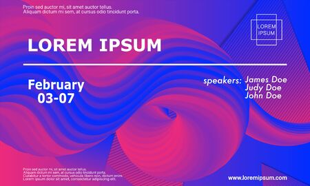 Conference Invitation Design Template. Fluid 3d Geometric Shapes. Flyer Layout. Minimal Abstract Cover Design. Geometric Background. Colorful Wallpaper. Conference Poster. Vector Illustration.