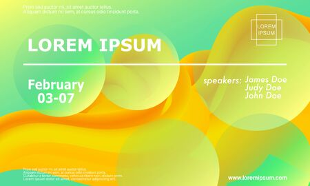 Green Background. Conference Design Template. 3d Fluid Poster. Gradient Abstract Banner. Announcement Conference. Vibrant Color. Fluid Green. Abstract Background. Green Yellow Colors. Vector.