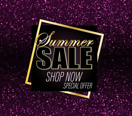 Sale Background. Gold Glitter Banner. Shine Backdrop. Sale Sign. Shining Confetti. Glittering Particles. Black Friday Sale. Sparkle Background. Vector.