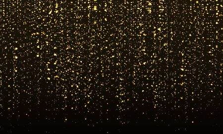 Gold Glitter Texture. Golden Abstract Particles. Sparkle Background. Vector Illustration. Sparkling Gold. Shimmer Black. Gold Glitter Confetti. Vectores