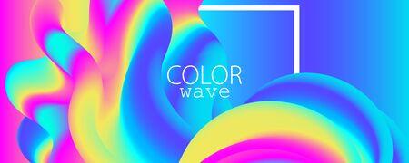 3d Waves. Summer Background. Fluid Flow. Abstract Color Background. Electronic Sound. Fluid Abstract. Liquid Wave. 3d Color. Summer Design. Music Poster. Waves 3d Design. Vector. Illustration
