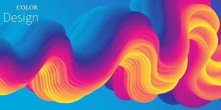 3d Wave. Vibrant Background. Fluid Colors. Wave Pattern. Summer Poster. Color Gradient. Flow Shape. Abstract Cover. Summer Colors. Vector Illustration. Fluid Flow.