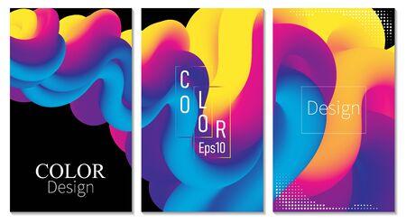 Cover Set. Fluid Flow. Color Poster. 3d Wave. Abstract Color Background. Electronic Sound. Fluid Abstract. Liquid Wave. 3d Color. Flow Design. Music Poster. Waves 3d Design. Vector.