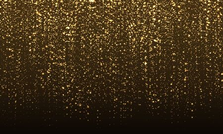 Sparkle Background. Gold Glitter Confetti. Abstract Particles. Sparkling Gold. Vector Illustration. Color Glitter On Black Background. Gold Texture. Ilustracja
