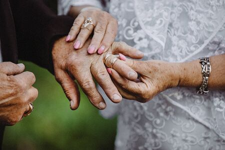 elder couples hands put on the wedding rings on each other. elderly couple wedding.gold couple is getting married. elder couples hand exchange the rings. wedding anniversary. golden wedding concept.